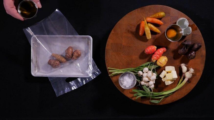 vegetables and sous vide bag
